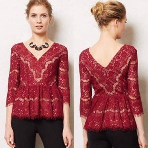 Anthropologie Maeve Needlelace Top Peplum Sheer